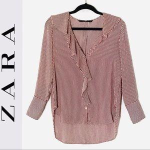 Zara Red/White Pinstripe Button Down Top